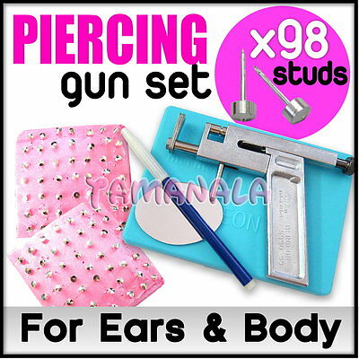 Professional Ear Nose Navel Body PIERCING GUN Tool Kit set jewelry 98 studs HOT