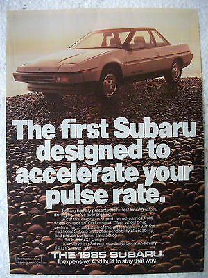 1985 Subaru Vortex Xt 4Wd Turbo Coupe Usa Magazine Fullpage Colour Advertisement