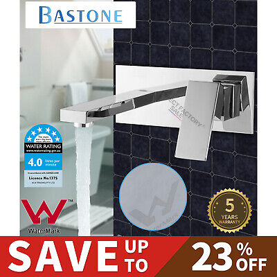Square Wall Water Bath Spout Vanity Basin Mixer Tap Shower Faucet Chrome Brass