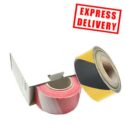 Red/White & Black/Yellow Non Adhesive Hazard Warning Barrier Tape 72mm x 500m