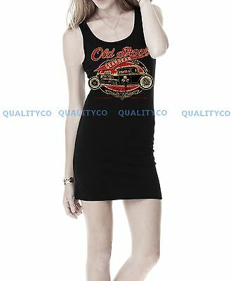 Junior's OLD SCHOOL Mini Black Jersey Dress Tank classic rat hot rod Ford Chevy