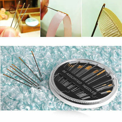 Assorted Hand Sewing Needles Embroidery Mending Craft Quilt Sew Case 30PCS
