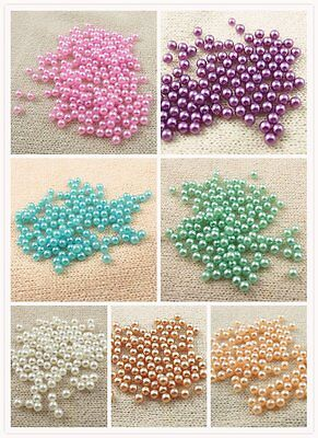 2000Pcs Multi Colors Round ABS Pearl No Hole Jewelry Finding 3mm