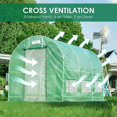 Quictent 12' X 7' X 7' Heavy Duty Walk-in Greenhouse 2 Doors Reinforced PE Cover