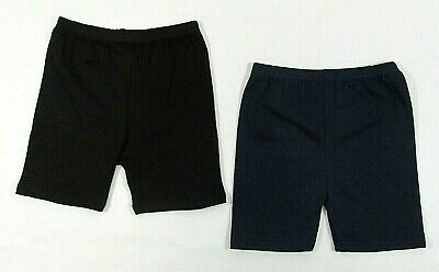 Girls Ladies Womens Shorts Hotpants Cycle Dance PE Gymnastics Cotton Navy Black