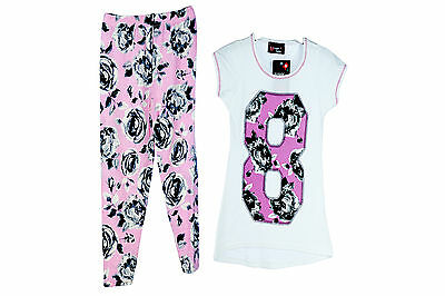 Bnwt Girls 2Pc Top& Leggings Sets White/Pink Or White/Turquoise 2-6Yrs
