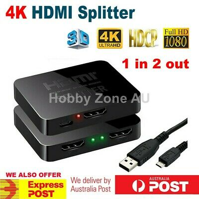 1 In 2 Out HDMI Splitter Amplifier Duplicator Full HD 1080p 3D V1.4 Foxtel DVD