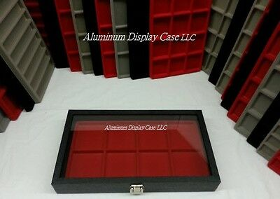 Hinged Glass Top Display Case w/ 8 Square Red Insert