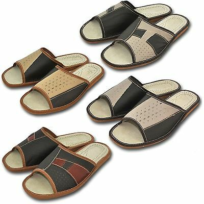 Comfortable Men`s Leather Slippers Slip On size: 41, 42, 43, 44, 45, 46 Pantofle