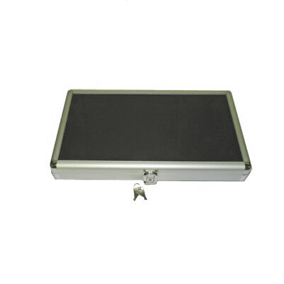 Portable Small Glass Top Aluminum Display Case with Black Velvet Liner (14x8x2)