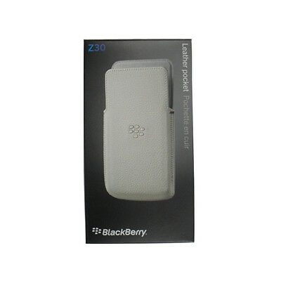 New Genuine BlackBerry Z30 NFC Friendly White Leather Pocket Pouch Case Cover RT
