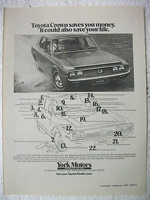 1972 Toyota Crown Australian Magazine Fullpage Advertisement
