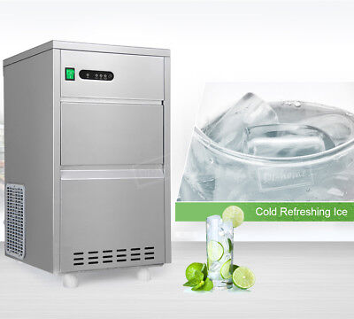 60lb 27kg/24h Ice Maker Clear Bullet Countertop Portable Stainless Steel Machine