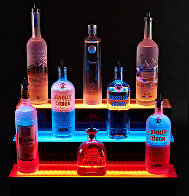 LED Lit Acrylic Bottle Display 6ft 3 Step Tier