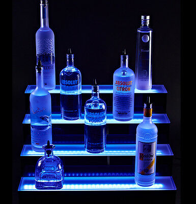 LED Lit Acrylic Bottle Display 4ft 4 Step Tier