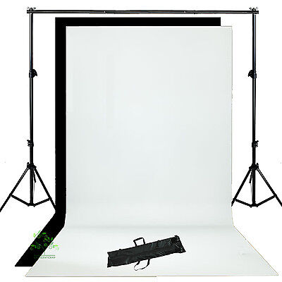 Photo Studio White Black Backdrop Background Support Stand Lighting  Kit UK