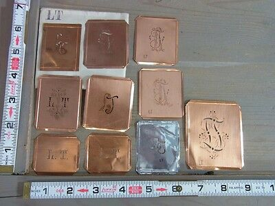 Æ YK117 * LT / TL * LOT OF 10 COPPER MONOGRAM STENCILS * ANTIQUE GERMAN 1910's