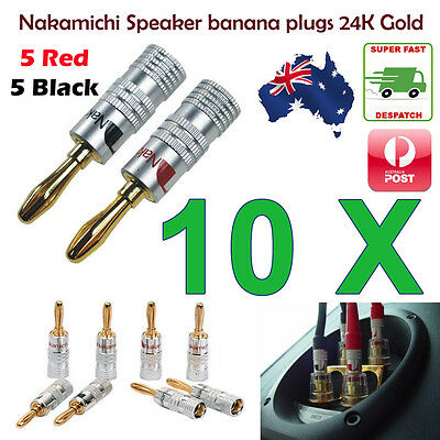10pcs Nakamichi Speaker banana plugs 24K Gold connector AU Stock - Fast Shipping