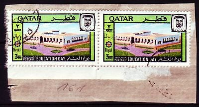 1966 Qatar Mi.161, Education 3r Pair used on piece, with rare surcharge [sr0046]