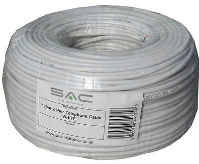 *50% OFF!* SAC 2 Pair Telephone Cable (100m Metre WHITE) on simple drumless reel