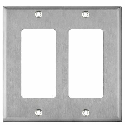 Brushed Stainless Steel Outlet Cover Decorator 2 Gang Wall Plate GFCI Faceplate