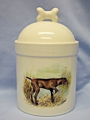 English Pointer Dog Liver Color Porcelain Treat Jar Fired  Decal on Front 8 In T