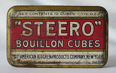 """""""STEERO"""" BUILLON CUBES by AMERICAN KITCHEN PRODUCTS COMPANY NEW YORK VINTAGE TIN"""