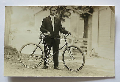 Early 1900's Photograph Of Handsome Man With Bicycle And Big-Toe Shoes
