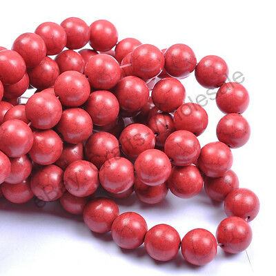 6MM 8MM 10MM 12MM 14MM Howlite Red Turquoise Gemstone Round Charms Loose Beads