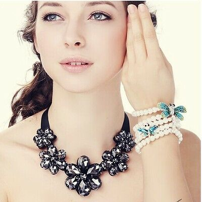 2014 Hot Selling New Fashion Crystal Flower Ribbon Bib Necklace