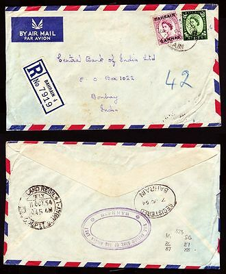 1954 Bahrain R-Cover to India, cds [ca270]