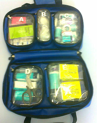 Blue Wipe Down Waterproof KITTED First Aid First Response Compartment Dura Bag