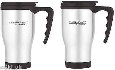2x Thermos Thermocafe 2060 Stainless Steel Travel Car Mug Beaker Cup 0.4L Litre