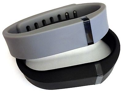 Small 1 Black & 1 Grey Bands + Clasps For Fitbit Flex Bracelet Band /No Tracker