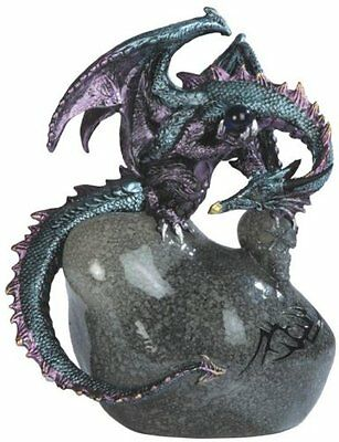 8 Inch Dragon Sitting on Stone Statue Fantasy Decor Figurine Figure Magic