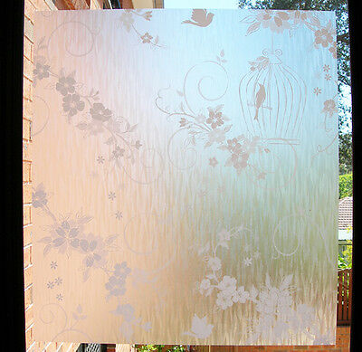 92cm /m Removable Decorative Vintage Frosted Window Film Privacy Bird and Cage