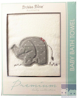 Bubba Blue PETIT ELEPHANT 100% Cotton Embroidered Bath Towel