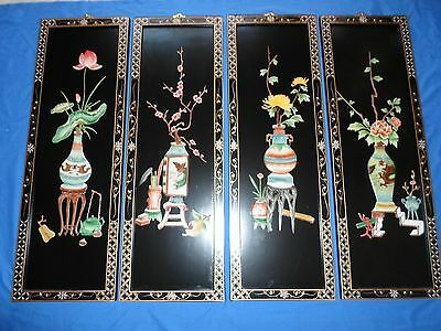 3 Vintage Oriental Japanese Lacquer Wall Art Panels