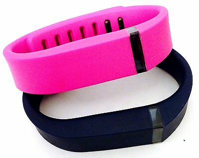 Small 1 Purple / Pink & 1 Navy Bands For Fitbit Flex Bracelet Band /No Tracker