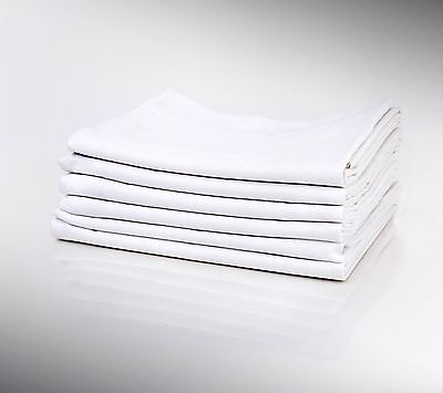 1 Dz WHITE PILLOW CASES STANDARD SIZE 20X32 T180 PERCALE HOTEL LINEN COTTON RICH