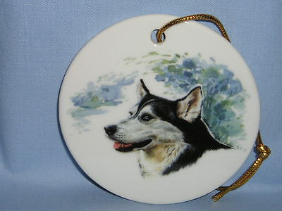 Siberian Husky Dog 3 In Round Christmas Tree Ornament Porcelain Fired Decal-L