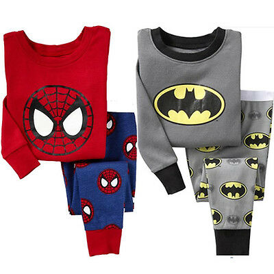 Baby Boys Kids Batman T-shirt Top+Trousers Pants Pajamas Sleepwear Homewear