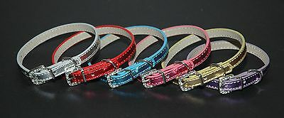 Metallic Leather Dog Puppy Collars w/ Crystal Buckles - 6 Colours - 30cm & 38cm
