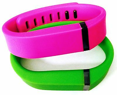 Small 1 Green 1 Purple / Pink Bands For Fitbit Flex Bracelet Band /No Tracker