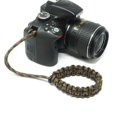 "The ""Cordy Camo"" Paracord Camera Wrist Strap - Handmade by Cordweaver"