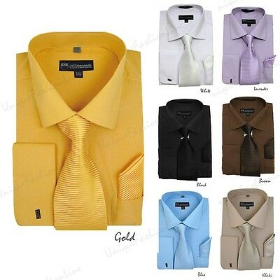 Men's French Cuff Solid Color Dress Shirt  Matching Tie Handkerchief  SG27