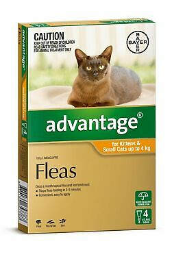 Advantage Flea Control for Cats or Kittens Under 4kg - Orange 4 Pack