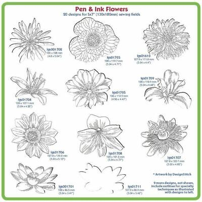 Pen And Ink Flowers Embroidery Designs By Lindee Goodall
