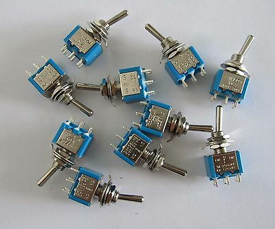 10pcs Blue Guitar Toggle Switches DPDT 6 Pin 3 Way ON/OFF/ON Mini Switch