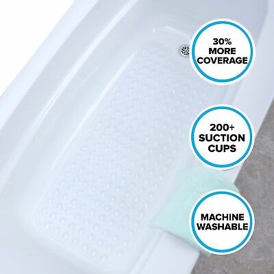 """SlipX Solutions Extra Long Bath Mat: 39"""" Clear Bathtub Mat with Suction Cups"""